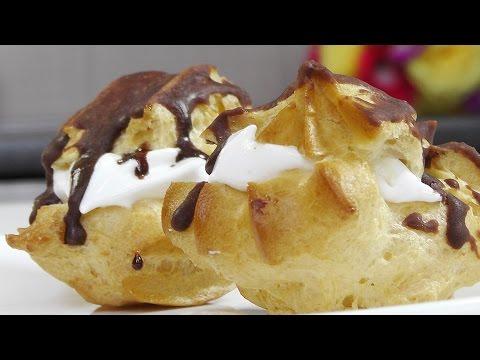 Пирожное из заварного теста с кремом без лактозы - Кулинарные видео рецепты